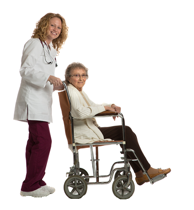 elderly lady in a wheel chair with carer